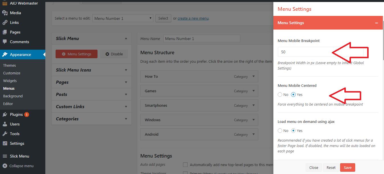 settings or options